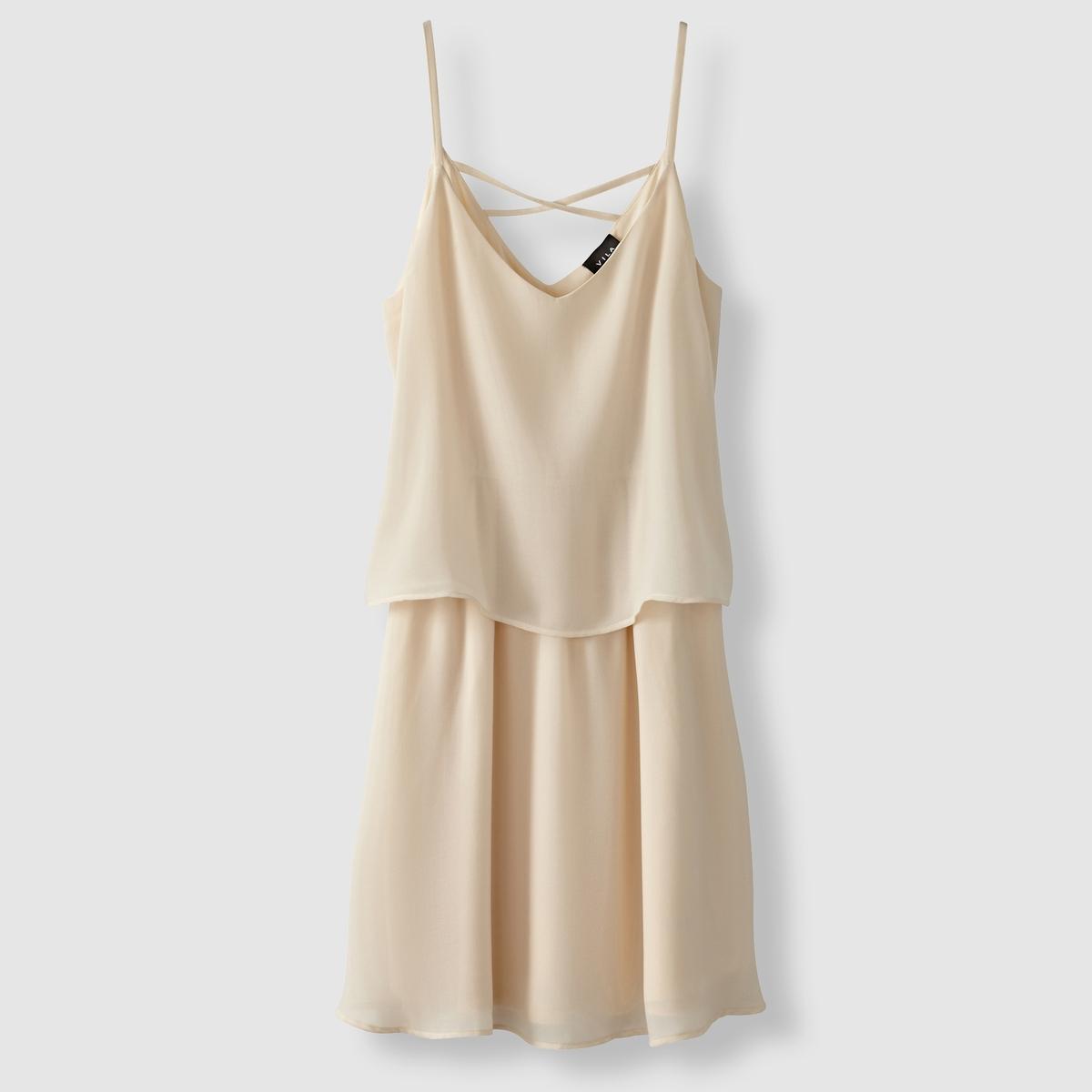 Платье 2 в 1, без рукавов, V-образный вырез, VILA VISORA DRESSСостав и описание :Материал : 100% полиэстераМарка : VILA<br><br>Цвет: бежевый/ розовый<br>Размер: L