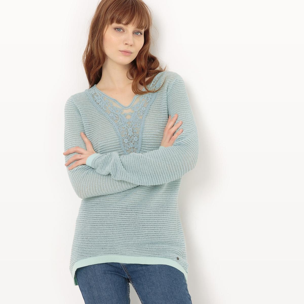 Пуловер с круглым вырезом из хлопкаМатериал : 84% хлопка, 6% волокон с металлическим блеском, 10% полиэстера Длина рукава : длинные рукава Форма воротника : круглый вырез Покрой пуловера : стандартный Рисунок : однотонная модель Особенность материала : кружево<br><br>Цвет: зеленый сине-зеленый<br>Размер: XS.M