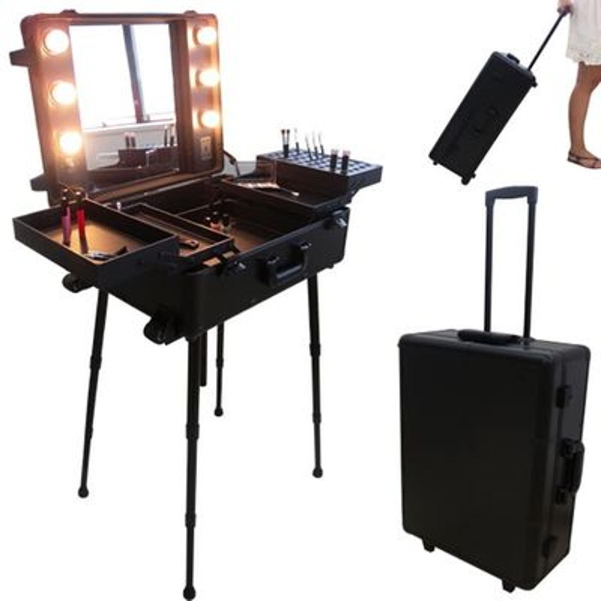 Valise studio make up trolley, Table de maquillage Ampoules, Noire