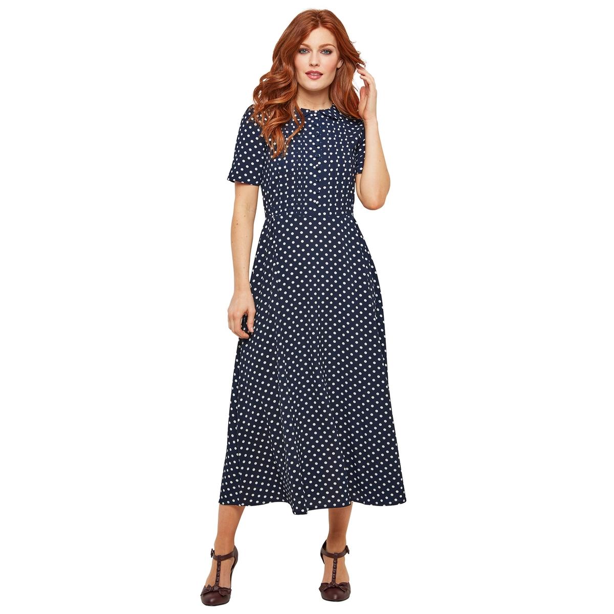 Платье La Redoute Средней длины расклешенное с рисунком в горошек и закругленным отложным воротником 38 (FR) - 44 (RUS) синий цены