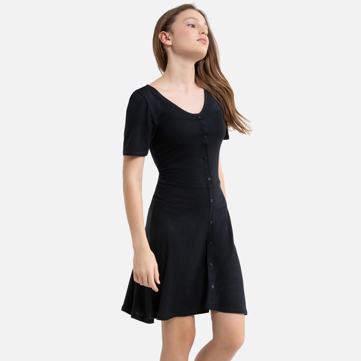 Платье La Redoute Струящееся с короткими рукавами 10 лет - 138 см черный
