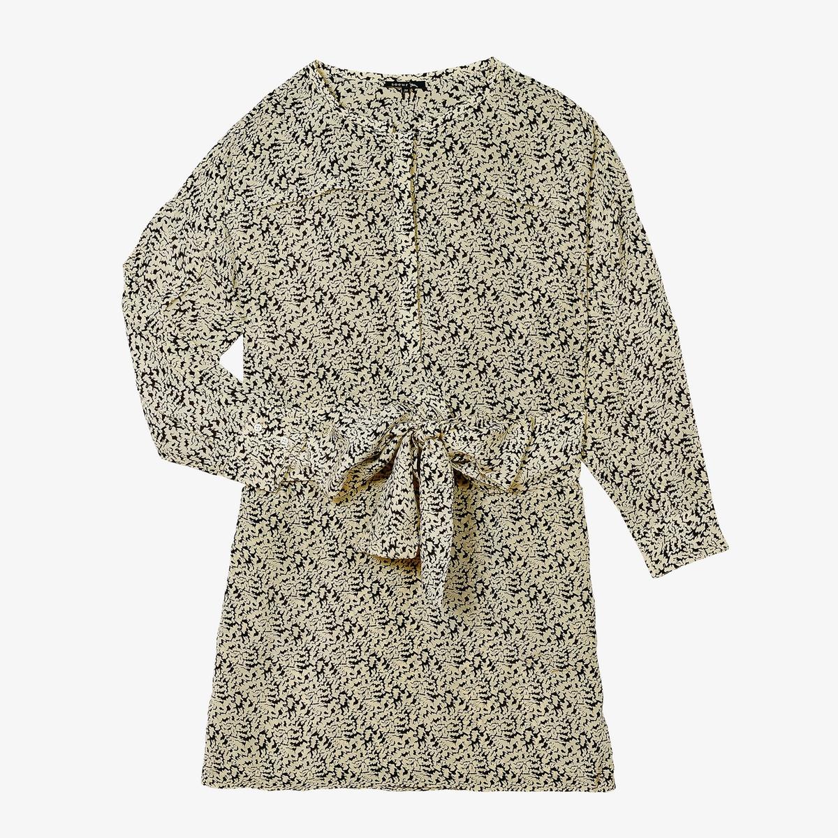 Платье La Redoute Короткое с длинными рукавами GIULIETA 42 (FR) - 48 (RUS) бежевый платье la redoute короткое с запахом с длинными рукавами 42 fr 48 rus черный