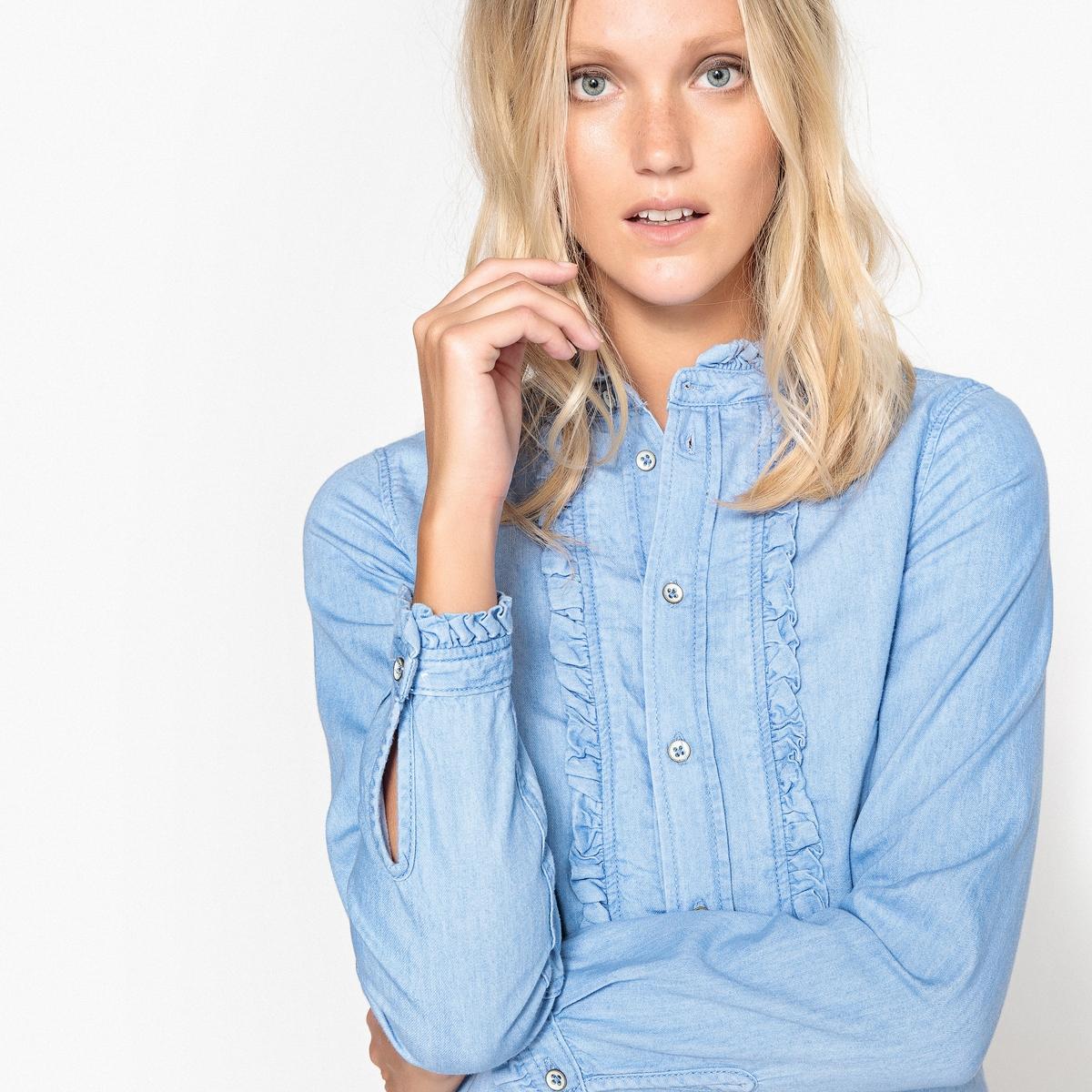 Рубашка однотонная с воротником-стойкой и длинными рукавамиДетали •  Длинные рукава •  Прямой покрой  •  Воротник-стойкаСостав и уход •  69% хлопка, 31% лиоцелла •  Следуйте советам по уходу, указанным на этикетке<br><br>Цвет: синий<br>Размер: M.L