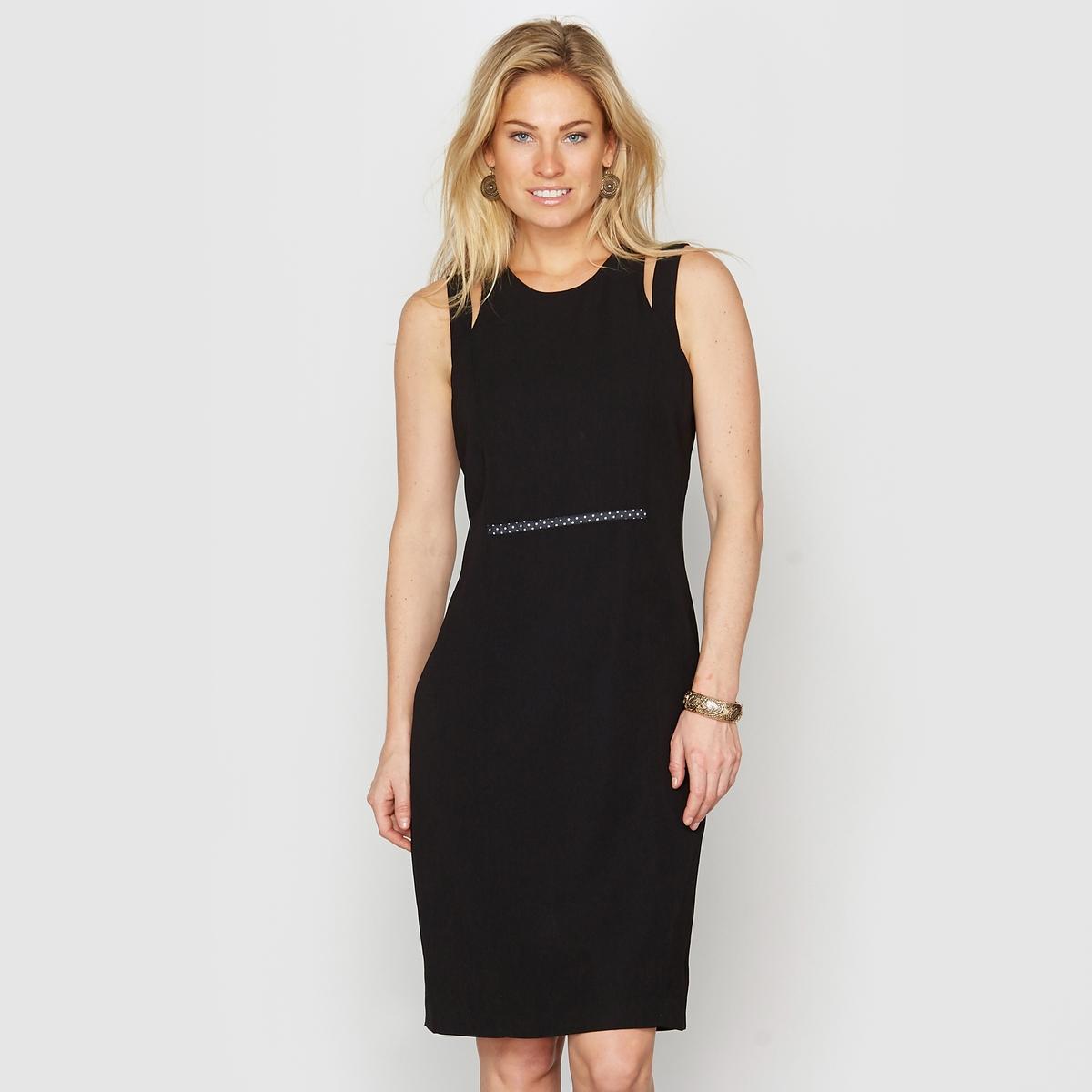 Элегантное платье из струящейся саржиЖакеты, юбки, брюки и платья этой коллекции прекрасно сочетаются и позволяют создавать образы по Вашему вкусу. Фантазируйте... Подбирайте модели на сайте laredoute.<br><br>Цвет: черный<br>Размер: 42 (FR) - 48 (RUS)