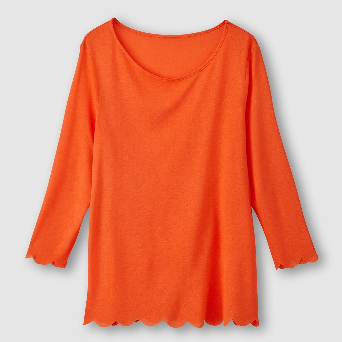 Футболка с вырезом-лодочкойФутболка Вырез-лодочка Рукава 3/4 Зубчатая отделка рукавов и низа Длина 56 см<br><br>Цвет: оранжево-красный
