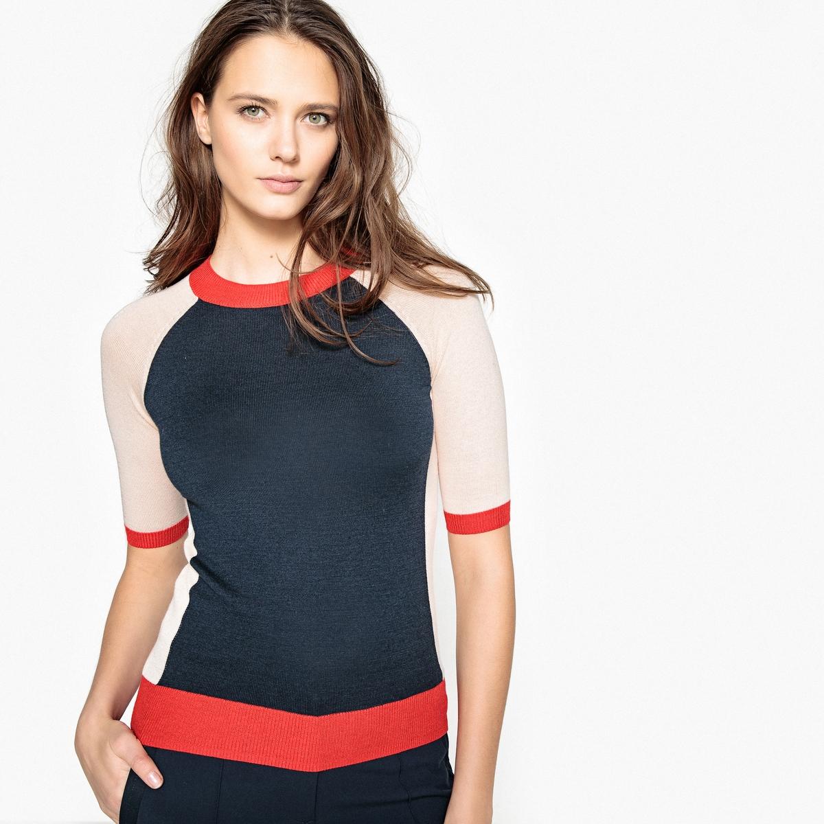 Пуловер из тонкого трикотажа с круглым вырезом и короткими рукавами
