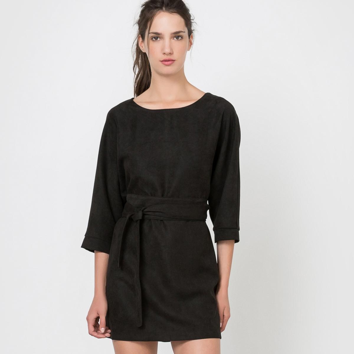 Платье с рукавами 3/4, пояс на завязкахСостав и описаниеМатериал: 100% полиэстер.Марка: MOLLY BRACKEN. УходСтирка при 30°С с вещами подобных цветов.Стирать и гладить с изнанки.<br><br>Цвет: черный<br>Размер: M