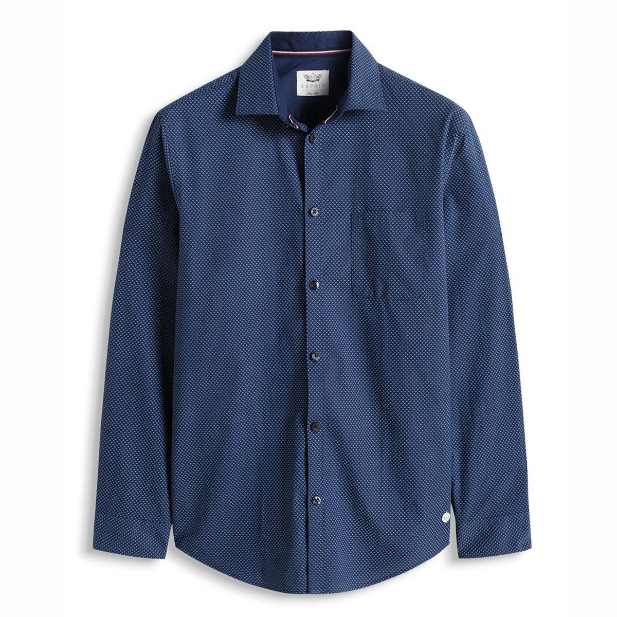Рубашка с рисункомРубашка с рисунком, с длинными рукавами - ESPRIT. Прямой покрой, классический воротник со свободными уголками. Застежка на пуговицы. 1 нагрудный карман.  Манжеты с пуговицами. Слегка закругленный низ. Состав и описаниеМатериал: 100% хлопка.Марка: ESPRIT.<br><br>Цвет: темно-синий