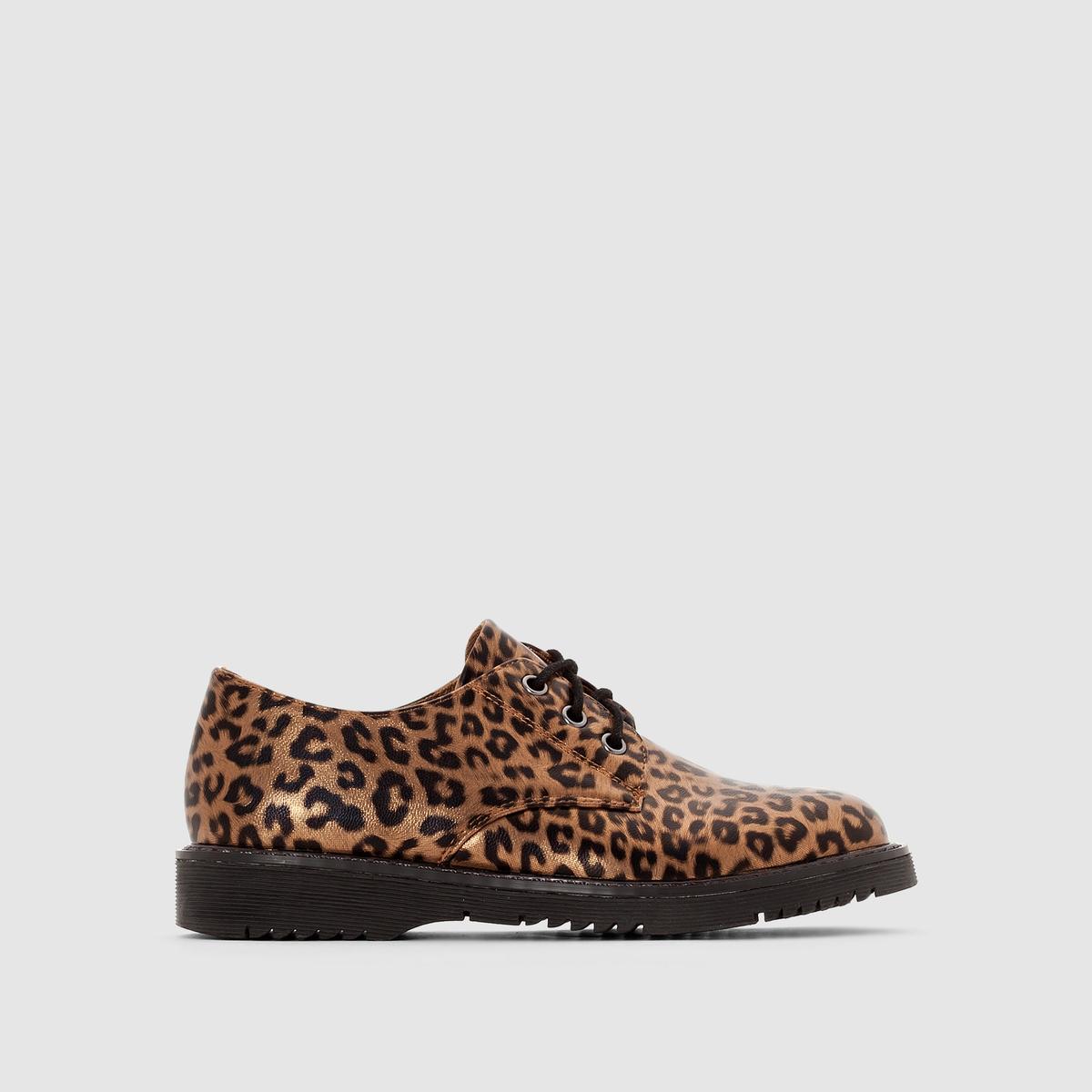 Ботинки-дерби с леопардовым рисунком от La Redoute
