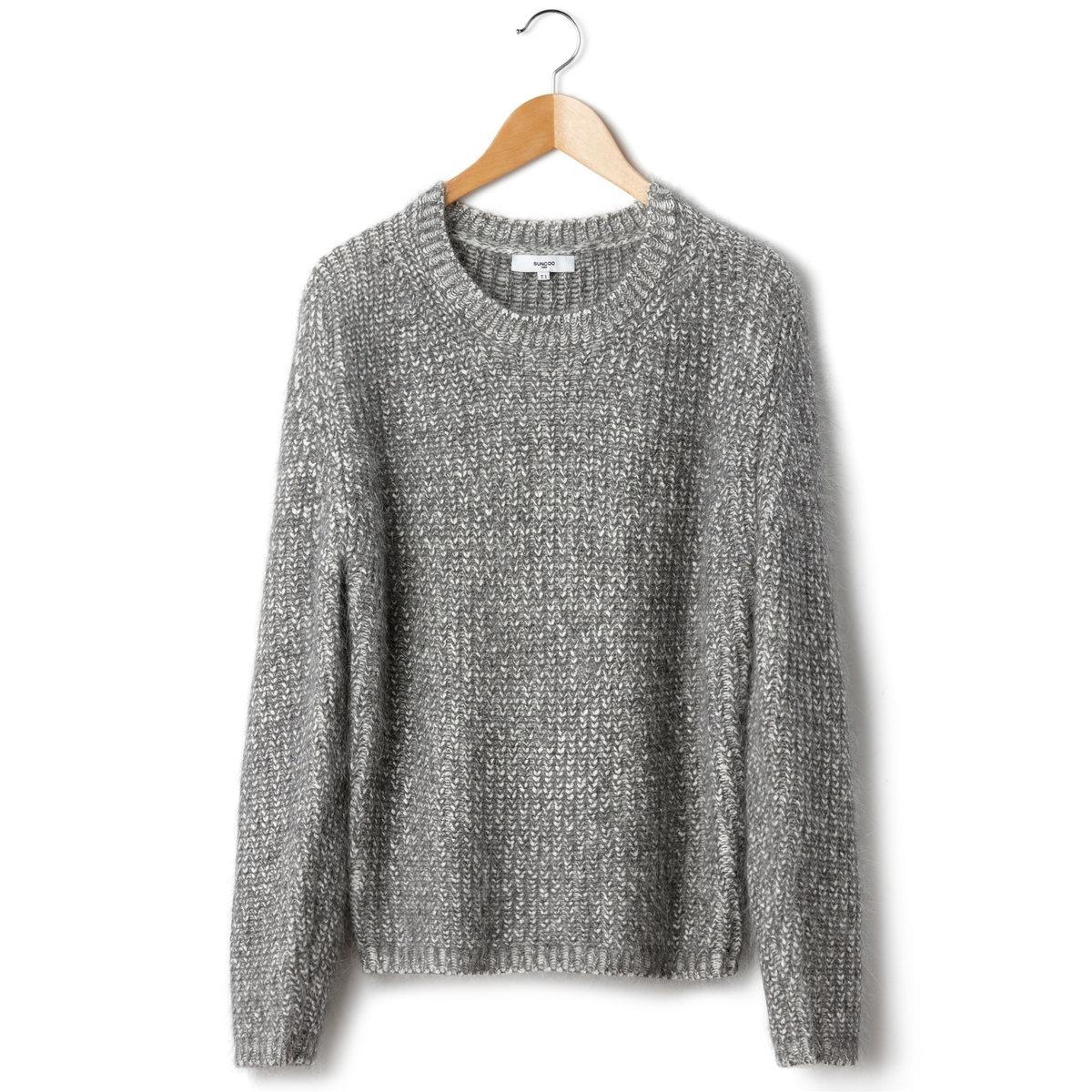 ПуловерПуловер SUNCOO. 22% шерсти альпаки, 54% акрила, 24% полиамида. Длинные рукава. Круглый вырез.<br><br>Цвет: серый меланж<br>Размер: 2(M)