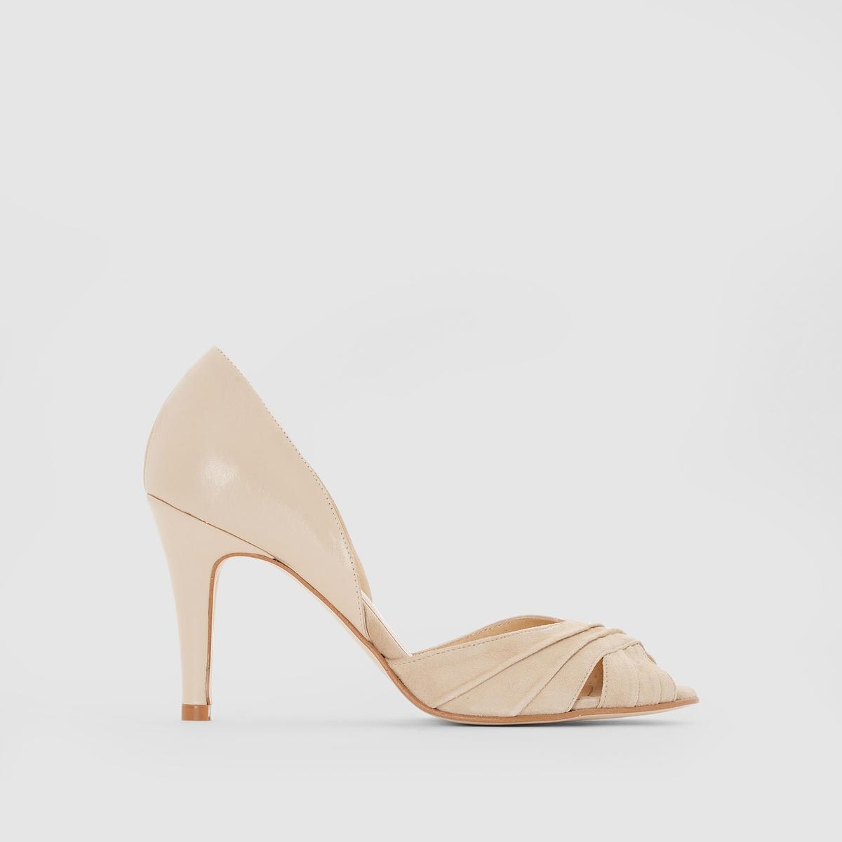 Туфли кожаные на каблуке, DOWALПодкладка: Кожа.Стелька: Кожа.       Подошва: Эластомер.       Форма каблука: Шпилька.Мысок: Открытый.Застежка: Без застежки.<br><br>Цвет: бежевый<br>Размер: 39