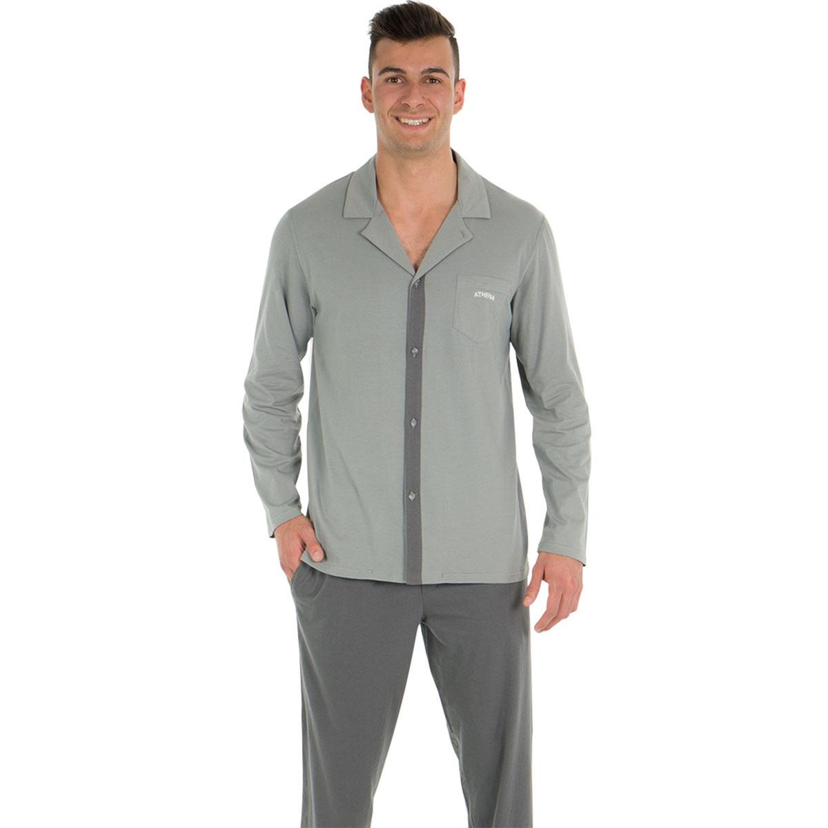 Пижама длинная, верх в форме рубашки с длинными рукавами