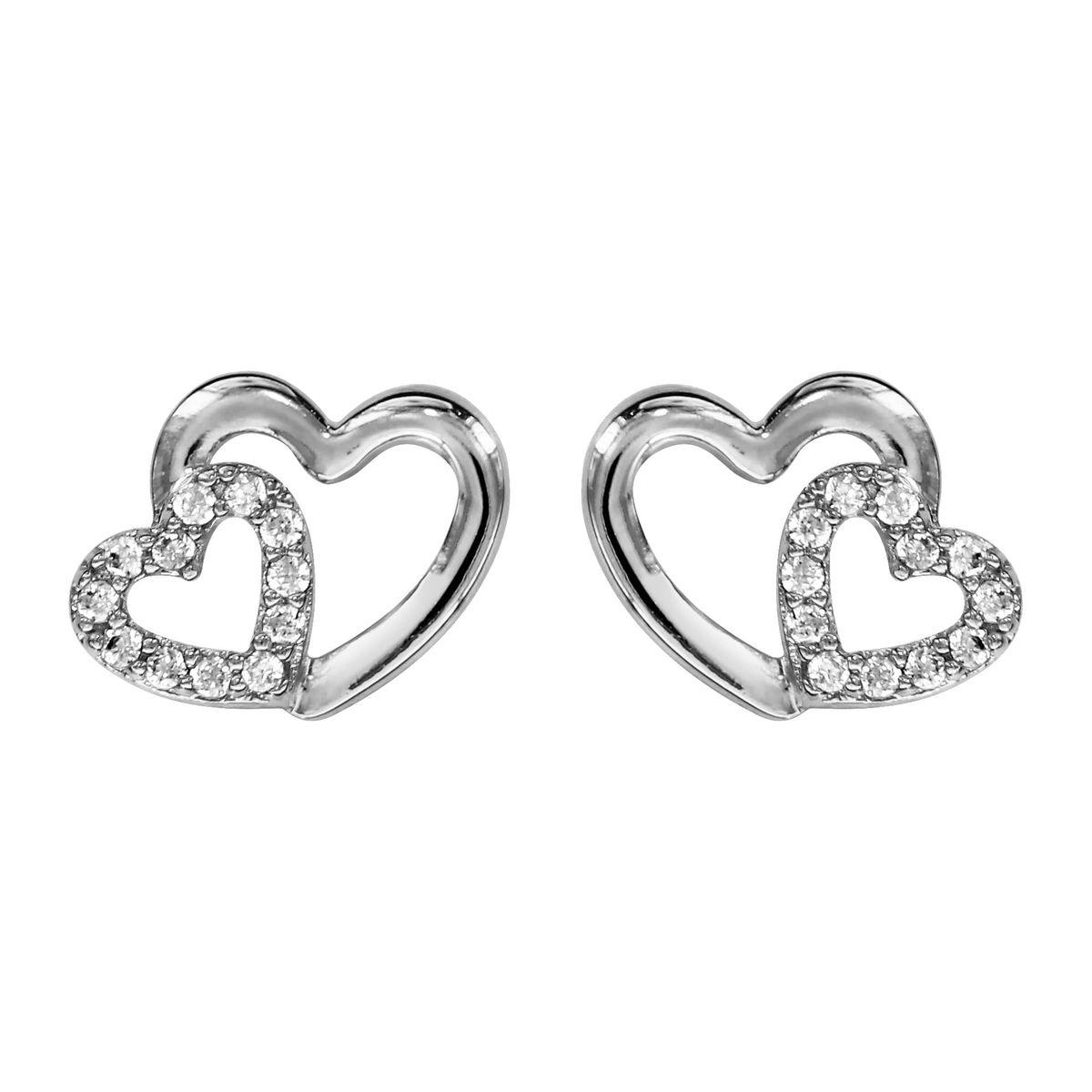 Boucles d'oreilles Double Coeur Croisé Blanc Argent 925