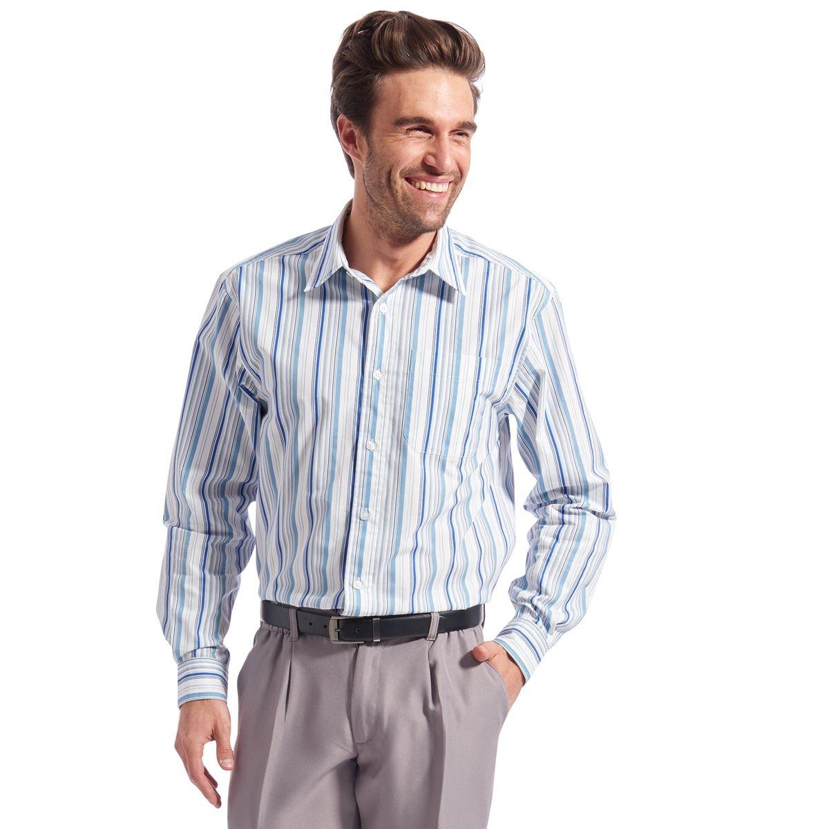 Chemise manches longues, tissé teint