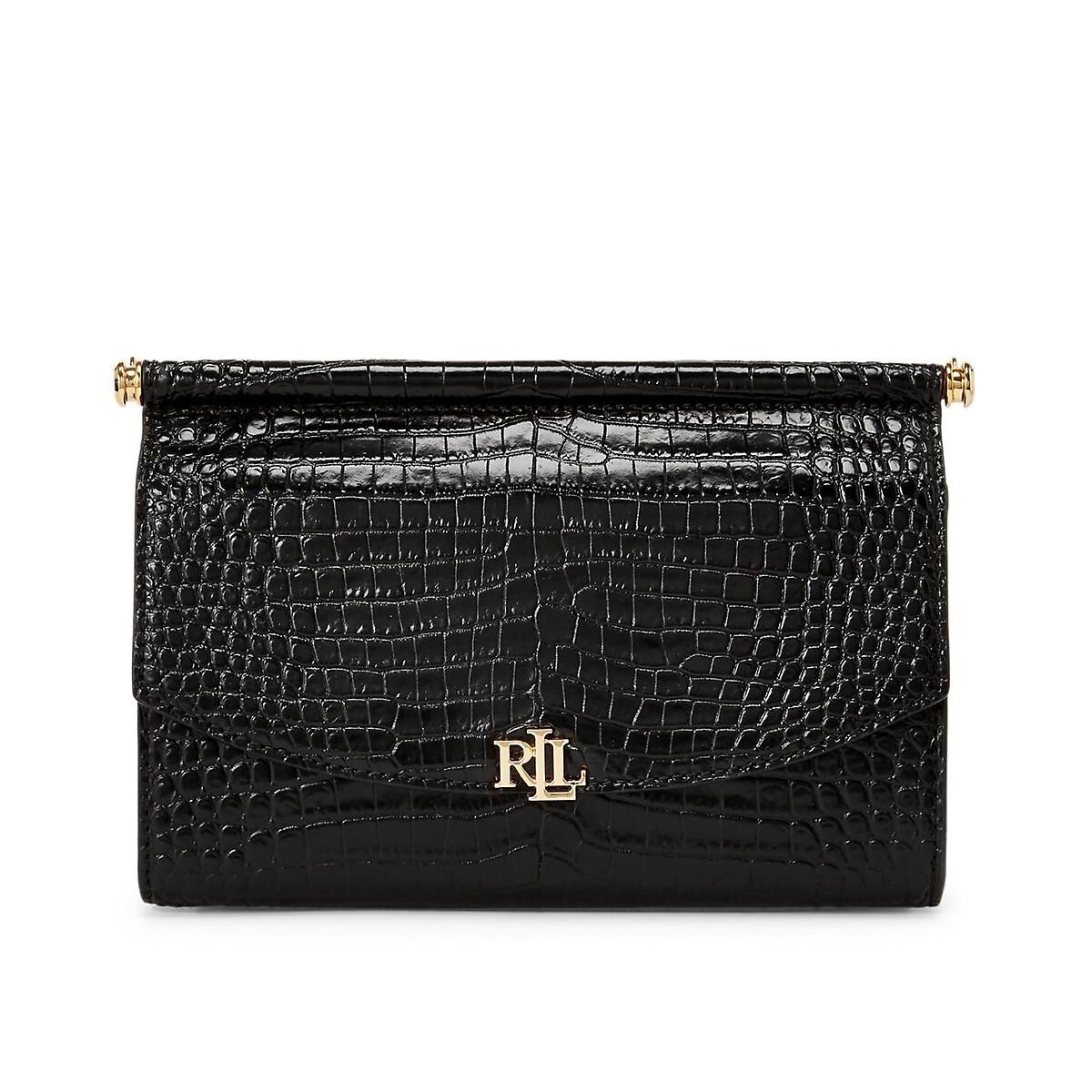 Сумка-клатч La Redoute Из кожи с узором под крокодиловую кожу единый размер черный сумка клатч la redoute с помпонами uni черный