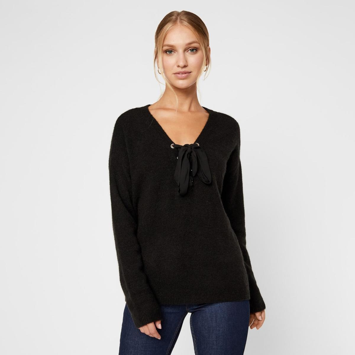 Пуловер La Redoute С V-образным вырезом с завязками спереди XS черный цена 2017