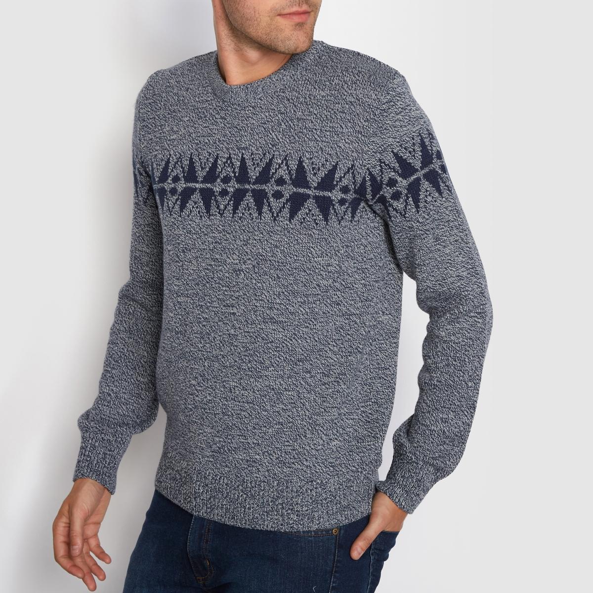 Пуловер с круглым вырезом и жаккардовым рисункомМатериал : 100% акрилаМарка :      R ?ditionКруглый вырез.Жаккардовый рисунок спереди и на спинке.<br><br>Цвет: темно-синий