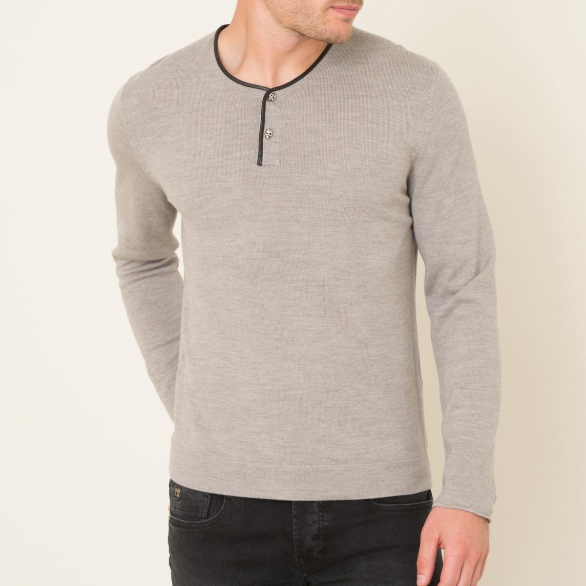 Пуловер с тунисским воротом