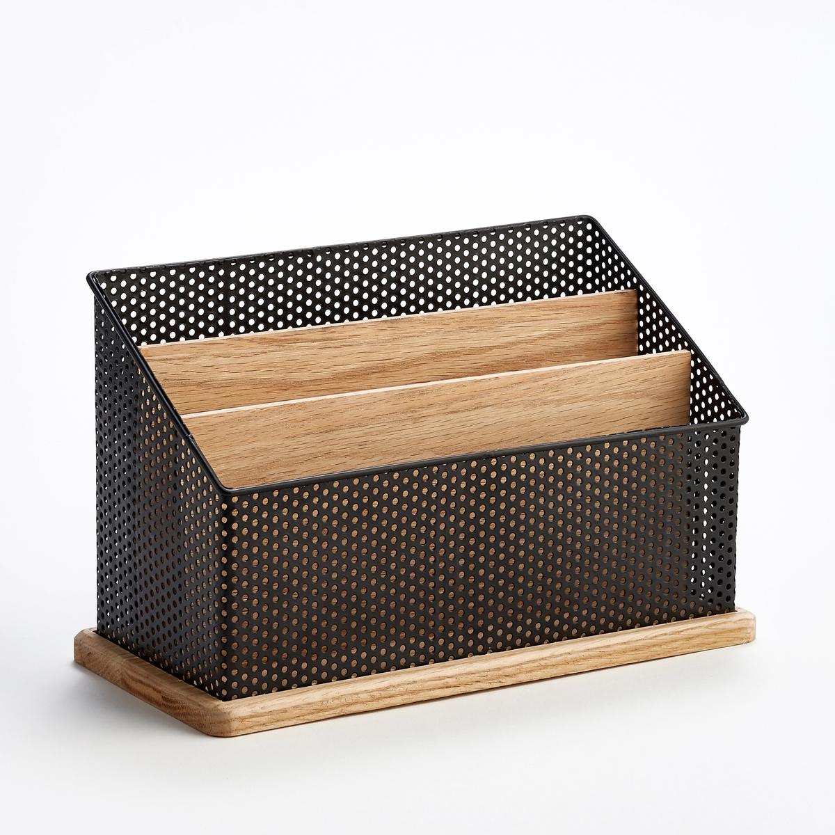Подставка вертикальная для писем, OrdonatoПодставка для писем Ordonato. Элегантное сочетание неокрашенного дуба и черного металла, эта подставка отлично подойдет на письменном столе для сортировки почты.Характеристики :- Основание и стенки из дуба - Корзина из ажурного металла Размеры  :- Ш.30 x В.19 x Г.14 смВсю коллекцию Ordonato для хранения вещей на письменном столе вы можете найти на сайте sur ampm.ru<br><br>Цвет: металл черный/дуб