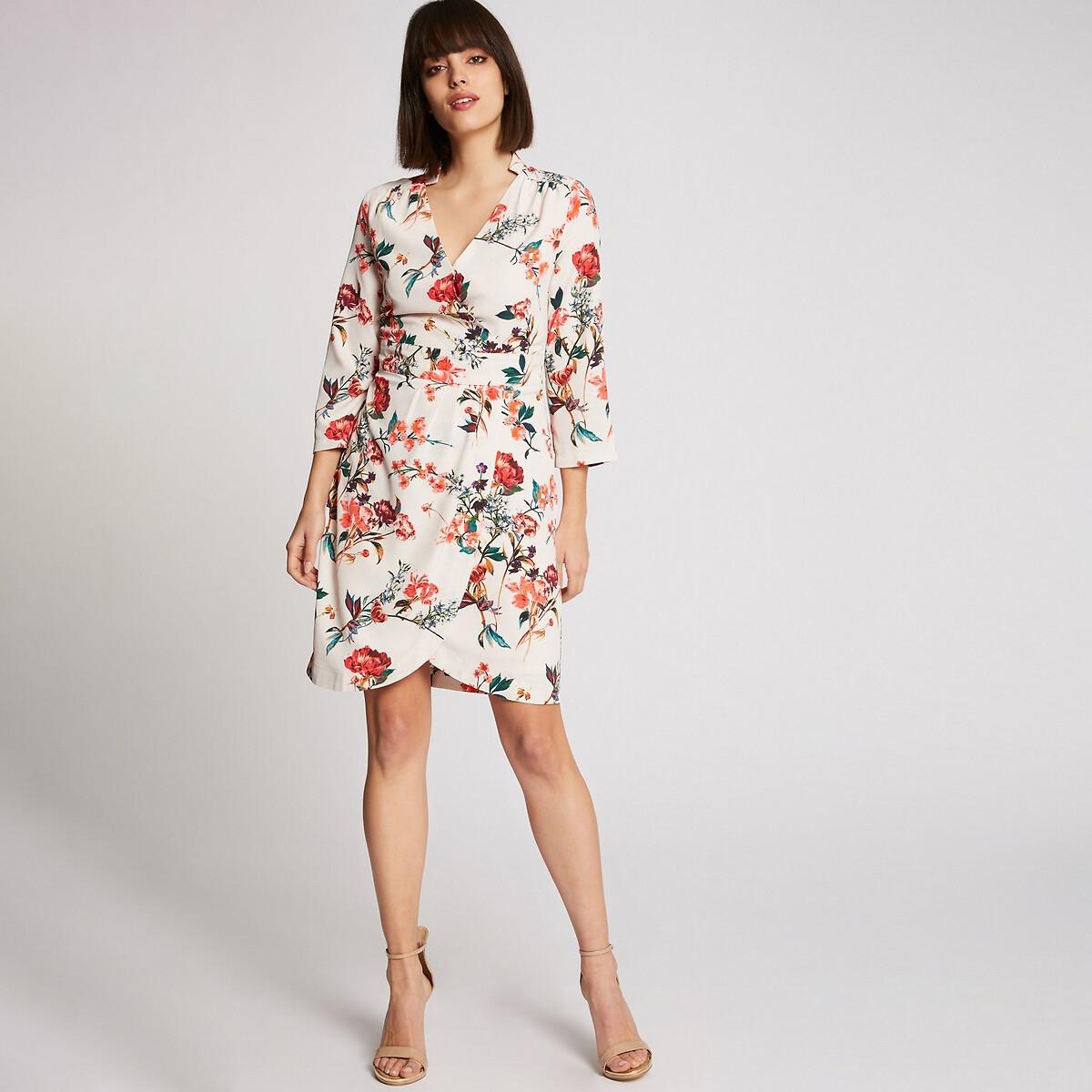 Платье La Redoute С запахом с цветочным рисунком 36 (FR) - 42 (RUS) белый платье la redoute длинное с цветочным рисунком и напускным эффектом 34 fr 40 rus черный