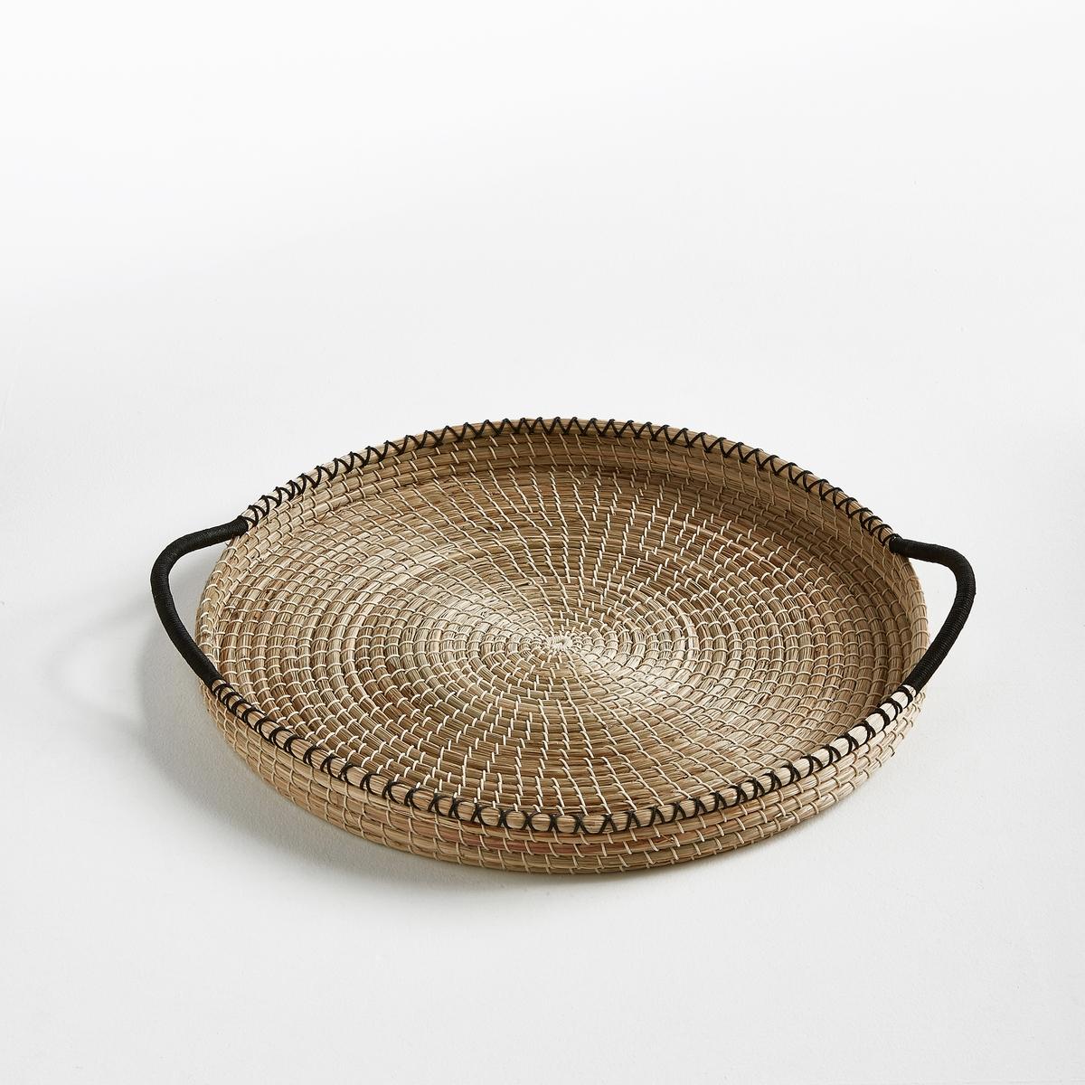 Поднос плетеный ArcochaПоднос Arcocha. Практичный и очень красивый поднос с 2 ручками. Ручное плетение из рисовой соломки. Размеры  : ?50 x В5,5 см.<br><br>Цвет: черный/ экрю