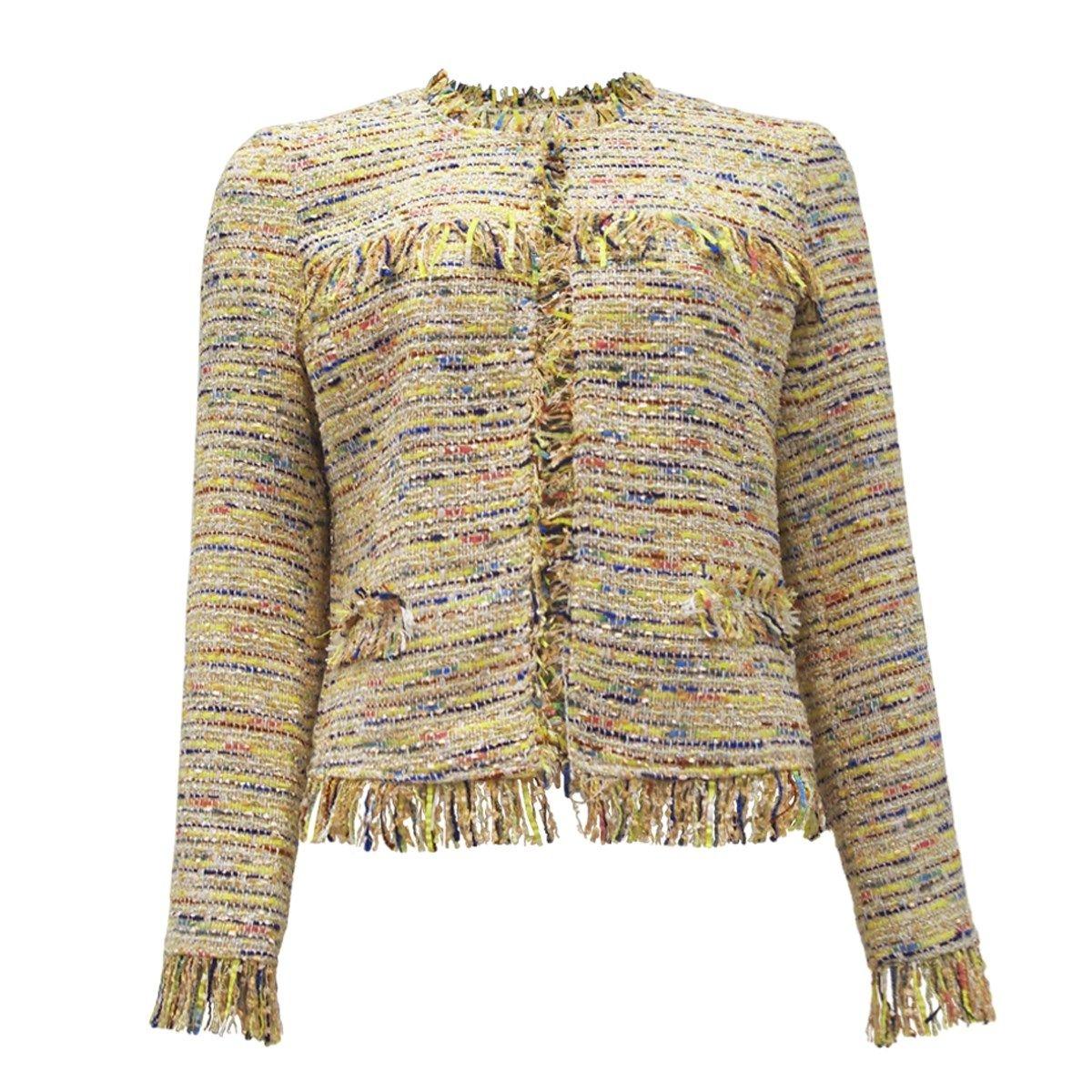 Veste en tweed à franges