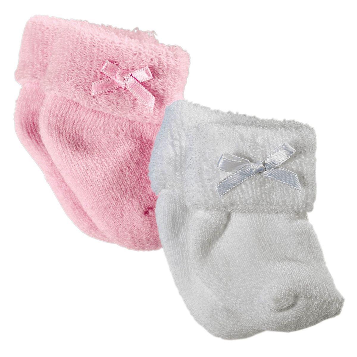 Chaussettes roses et blanches pour poupon de 30 à 46 cm