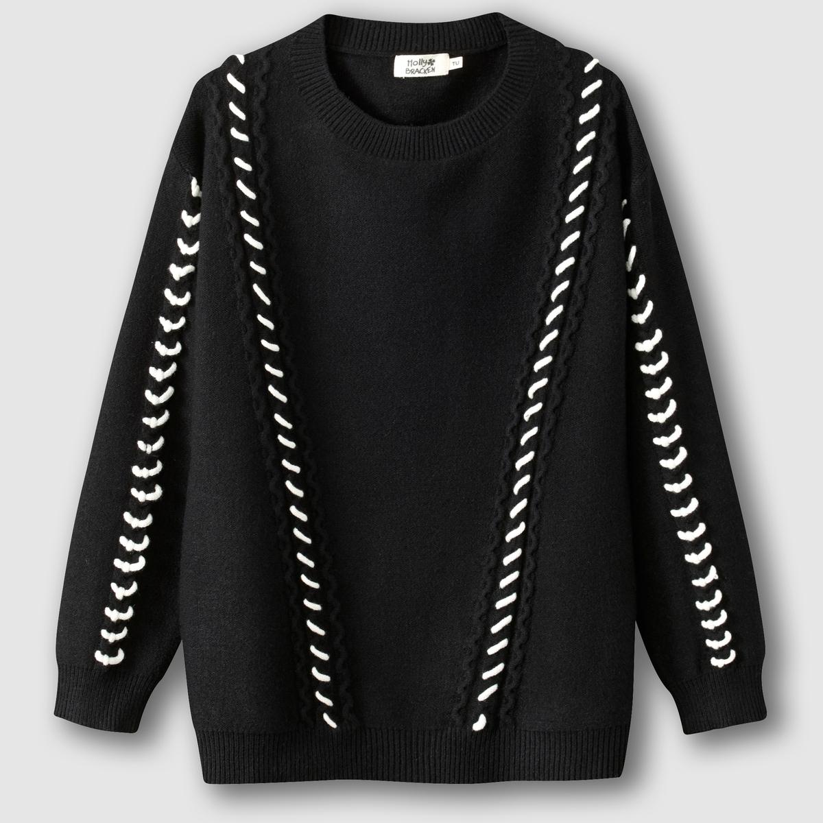 Пуловер с круглым вырезом и контрастным рисунком пуловер с круглым вырезом и вышивкой molly bracken