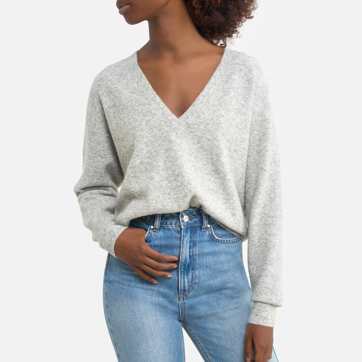 Пуловер LaRedoute С v-образным вырезом из тонкого трикотажа NOXON XS/S серый