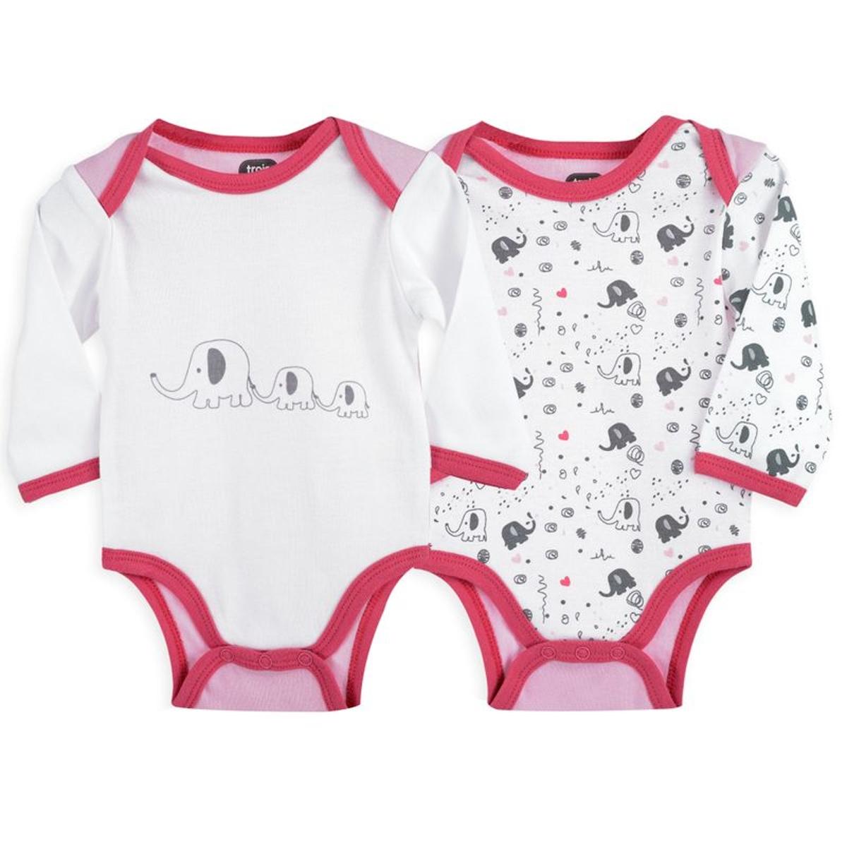 Body bébé fille - Lot de 2  Elephants roses