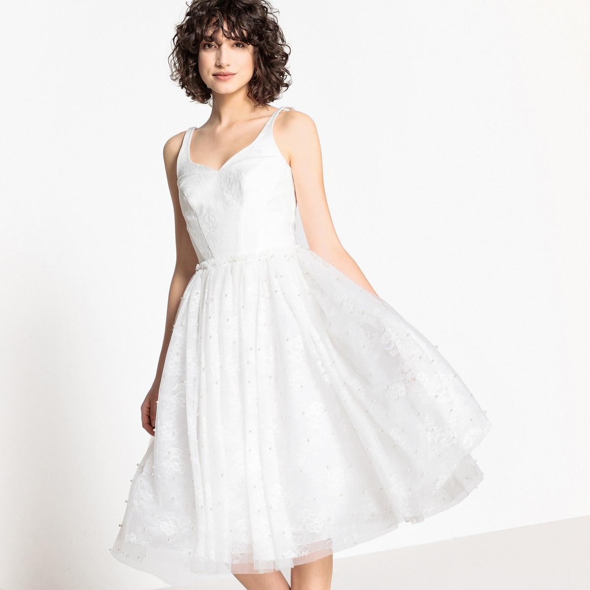 Платье La Redoute Свадебное расклешенное из кружева с бусинами 38 (FR) - 44 (RUS) белый свадебное платье zsc 100pthd lygh29