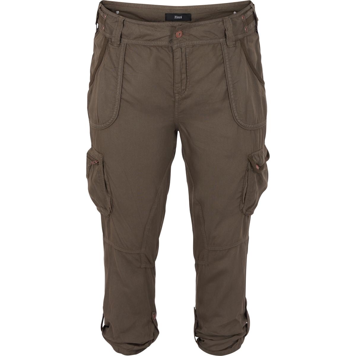 Брюки 3/4Брюки 3/4 ZIZZI. Брюки из 100% тенсела, комфортные и воздухопроницаемые. Много карманов, деталь в виде цепочки. Шлевки для ремня.Брюки 3/4 также можно опустить, отличные брюки для весны и лета.<br><br>Цвет: хаки<br>Размер: 46 (FR) - 52 (RUS)