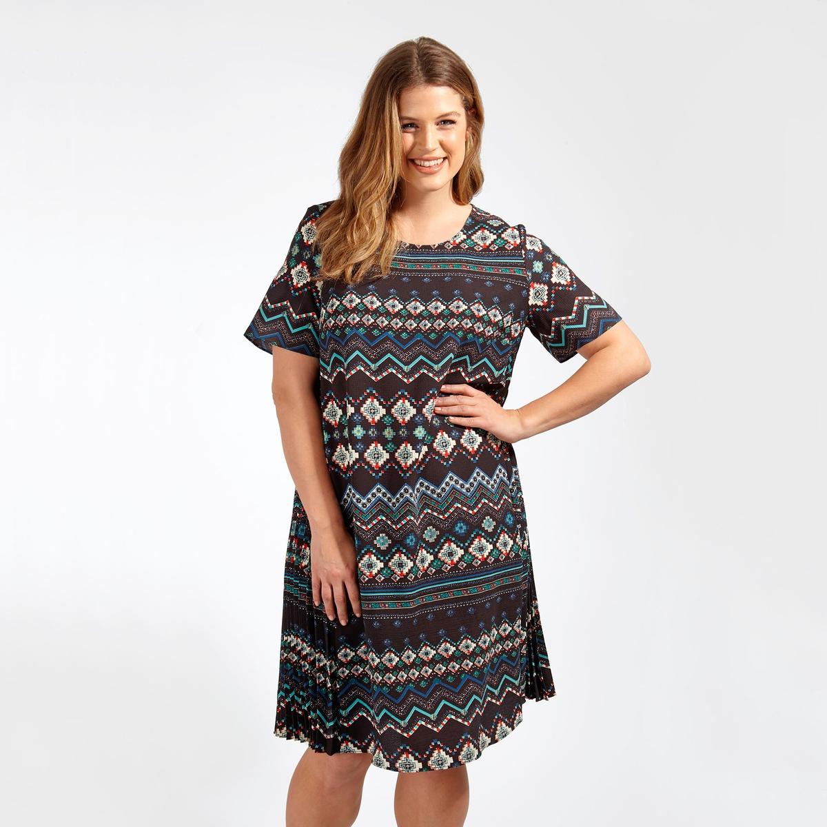 ПлатьеПлатье с короткими рукавами KOKO BY KOKO. Длина до колен. Круглый вырез. 100% полиэстер<br><br>Цвет: набивной рисунок