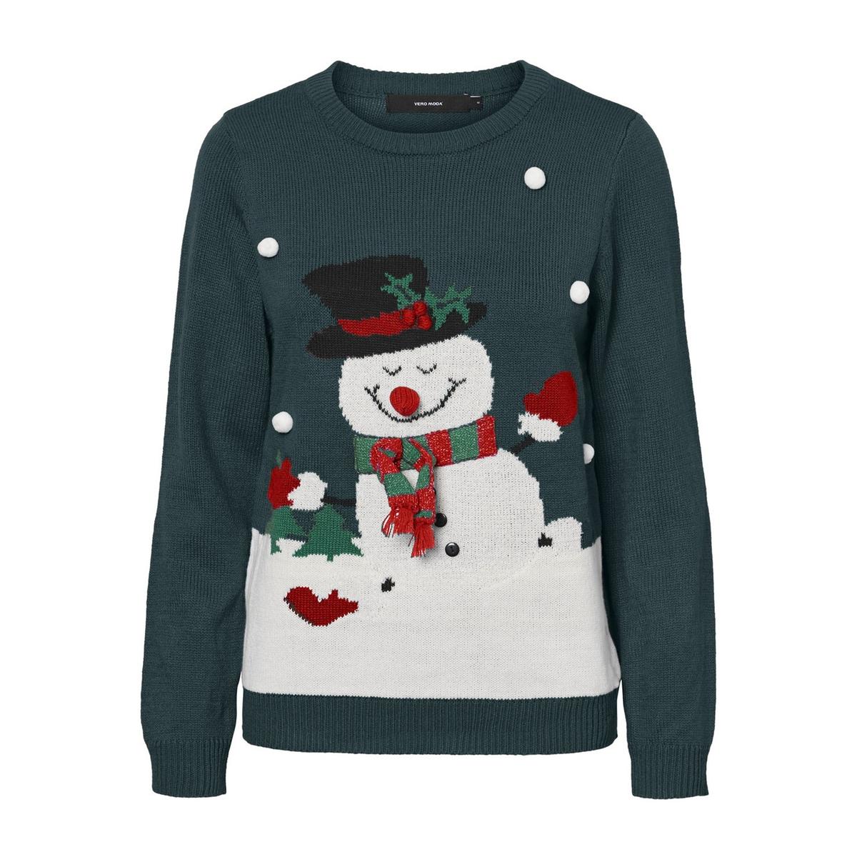 цена на Пуловер La Redoute С рождественским рисунком и круглым вырезом S зеленый