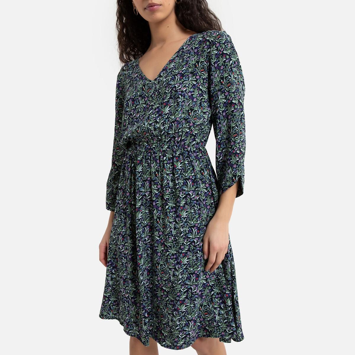 Платье La Redoute Расклешенное с цветочным принтом S черный платье la redoute с принтом chora 1 s другие