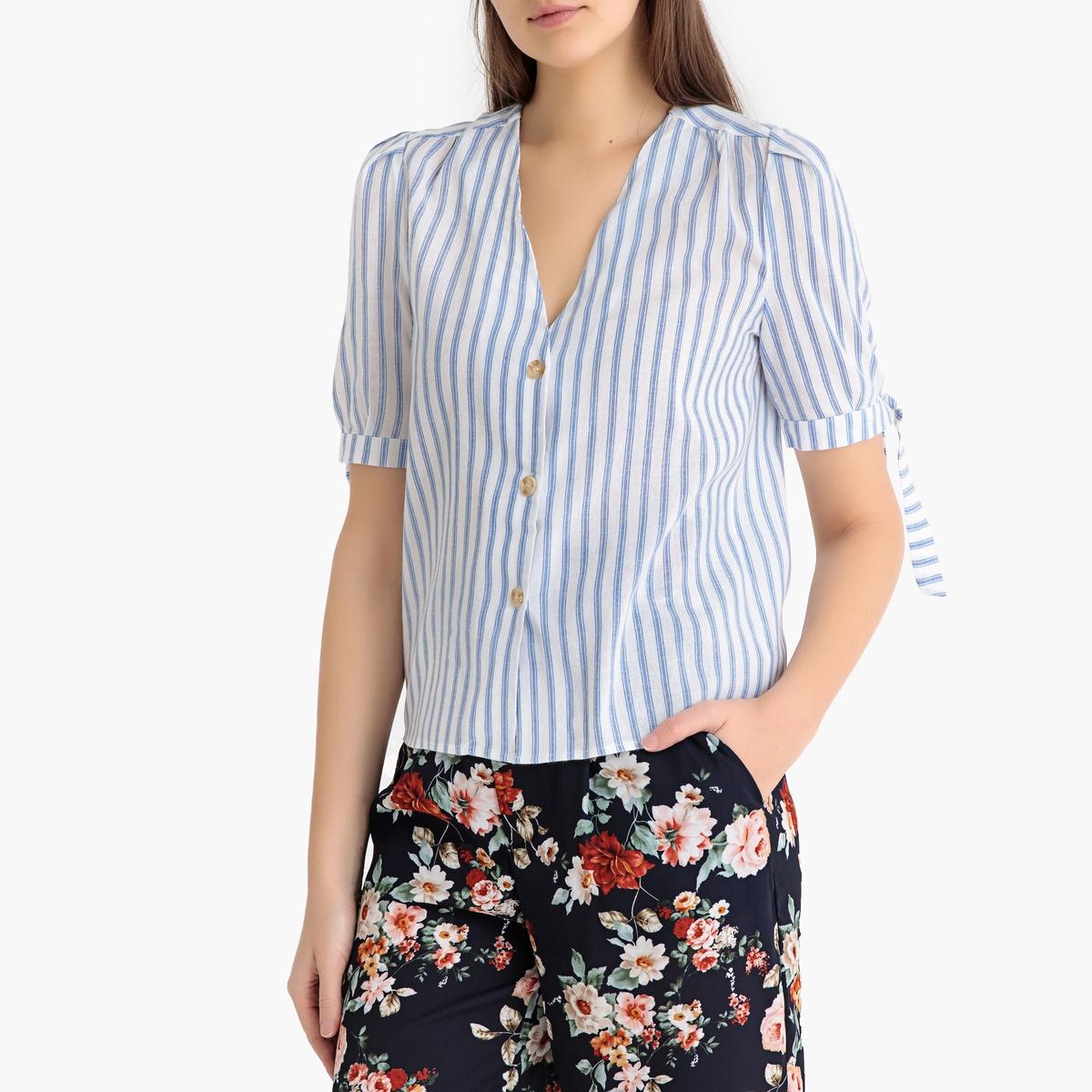 Блузка La Redoute В полоску с V-образным вырезом и короткими рукавами BARI M белый недорого