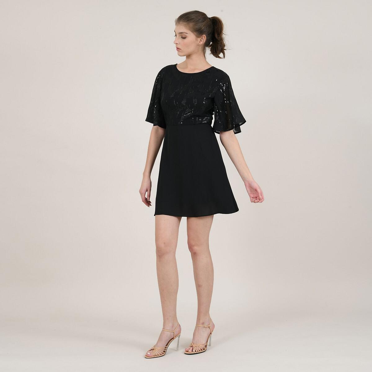 Платье La Redoute Короткое расклешенное с рукавами-воланами S черный