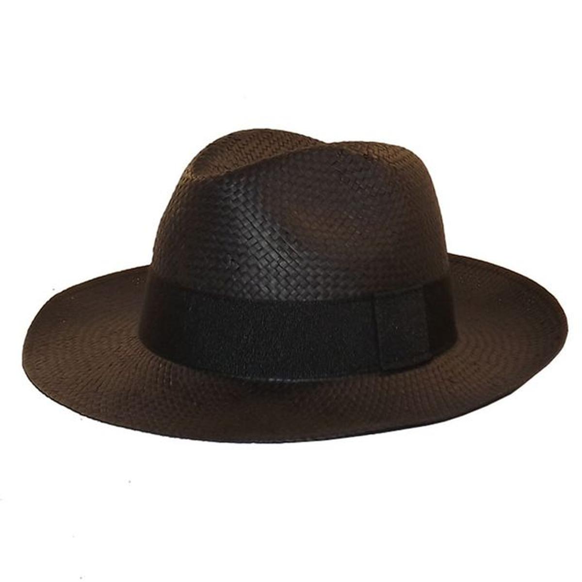 Chapeau style panama noir ruban noir