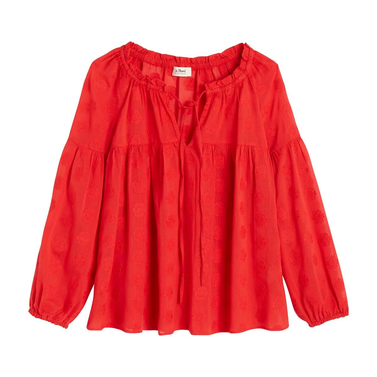 Блузка LaRedoute Широкая с круглым вырезом и длинными рукавами MARILOU 40 (FR) - 46 (RUS) красный