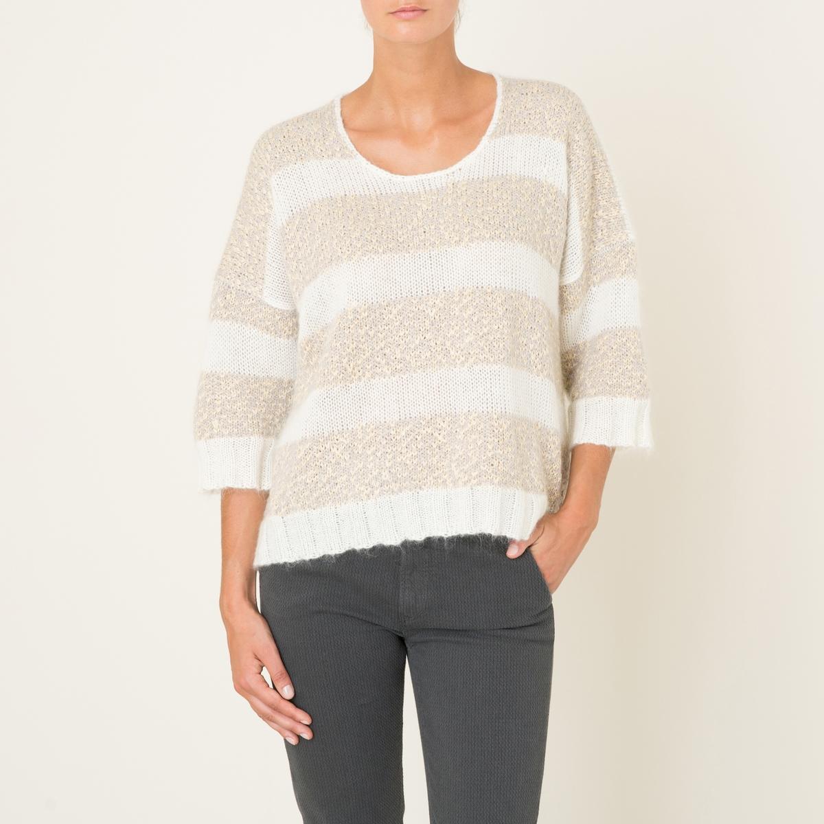 Пуловер TOUCANПуловер HARRIS WILSON - модель TOUCAN. Пуловер широкого покроя. Оригинальный двухцветный трикотаж. Свободный круглый вырез. Рукава 3/4. Края рукавов и низа связаны в рубчик 3x2. Состав и описание Материал : 40% полиамида, 30% мохера, 30% шерстиМарка : HARRIS WILSON<br><br>Цвет: экрю<br>Размер: L