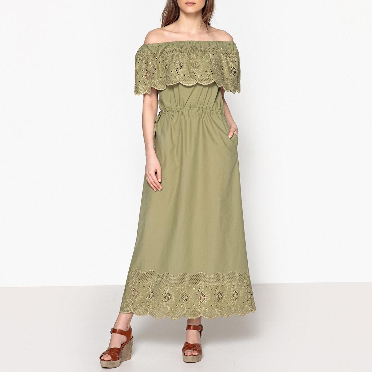 Платье длинное с воланом и английским кружевом REFRAIN