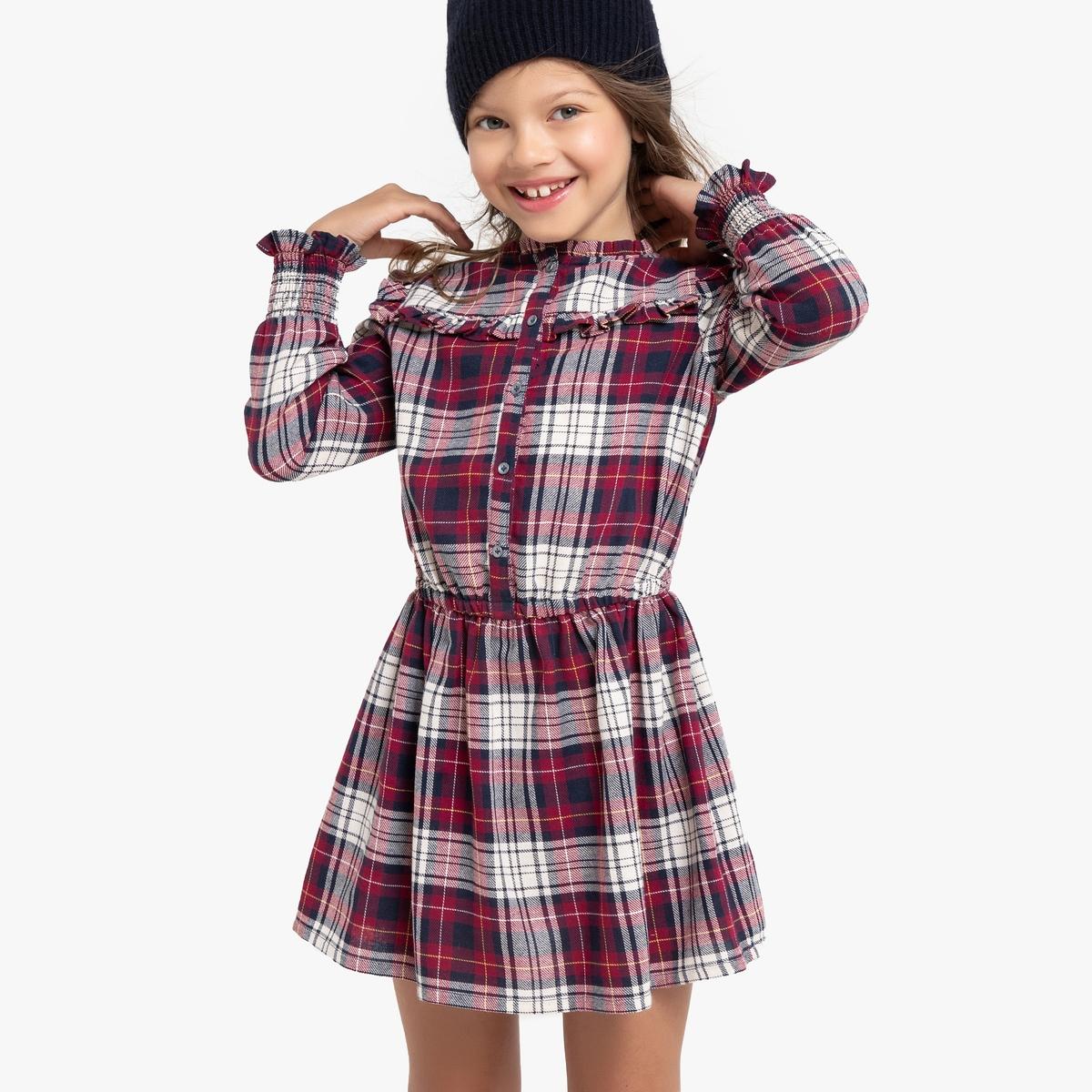 Платье La Redoute С длинными рукавами в клетку 12 лет -150 см другие платье la redoute с длинными рукавами с цветочным принтом 12 лет 150 см другие