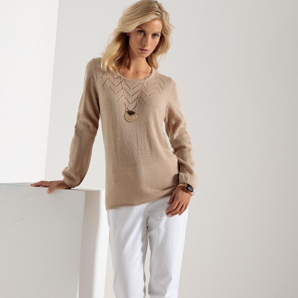 Пуловер из тонкого трикотажа с круглым вырезом и длинными рукавами