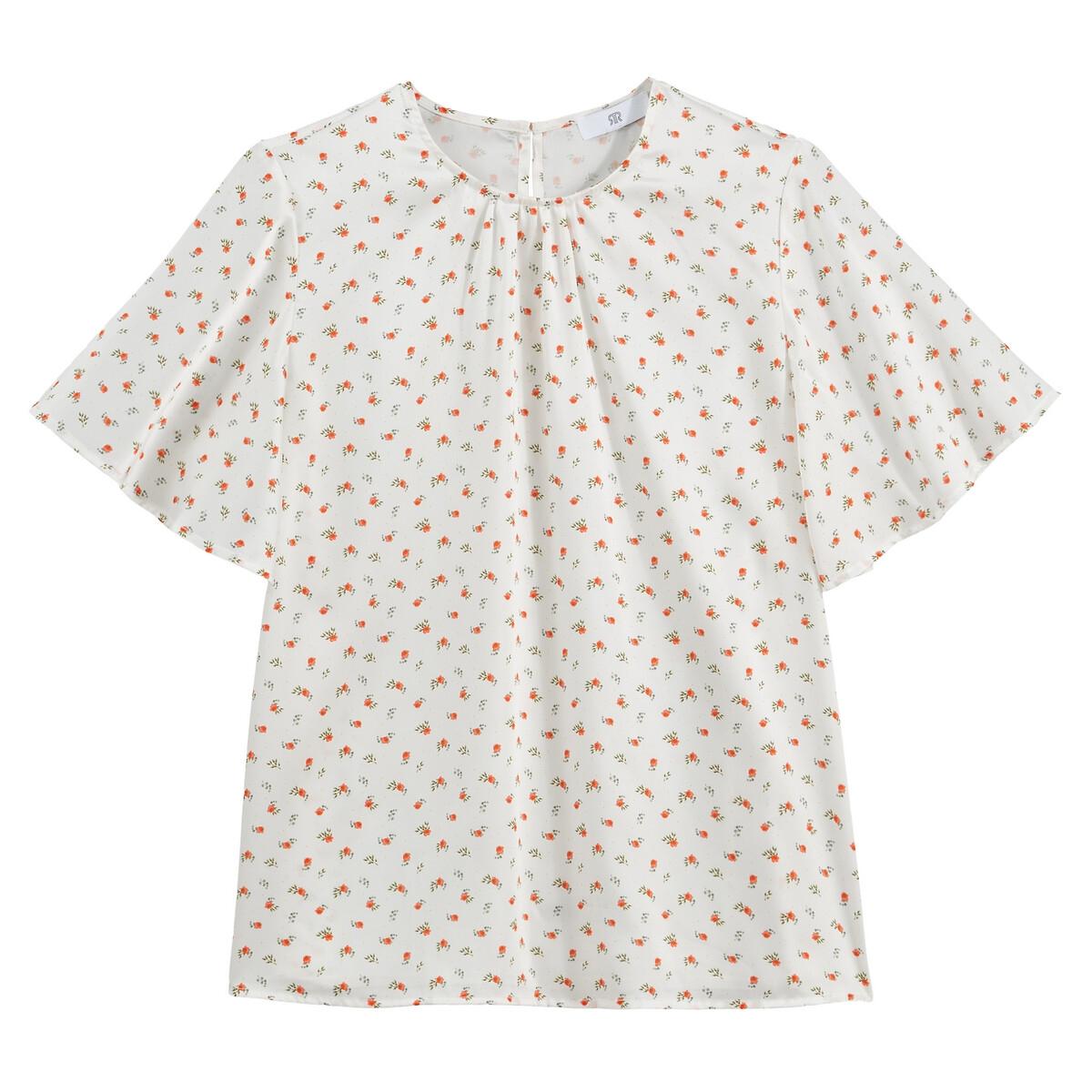 Blusa con cuello redondo y estampada de flores mini