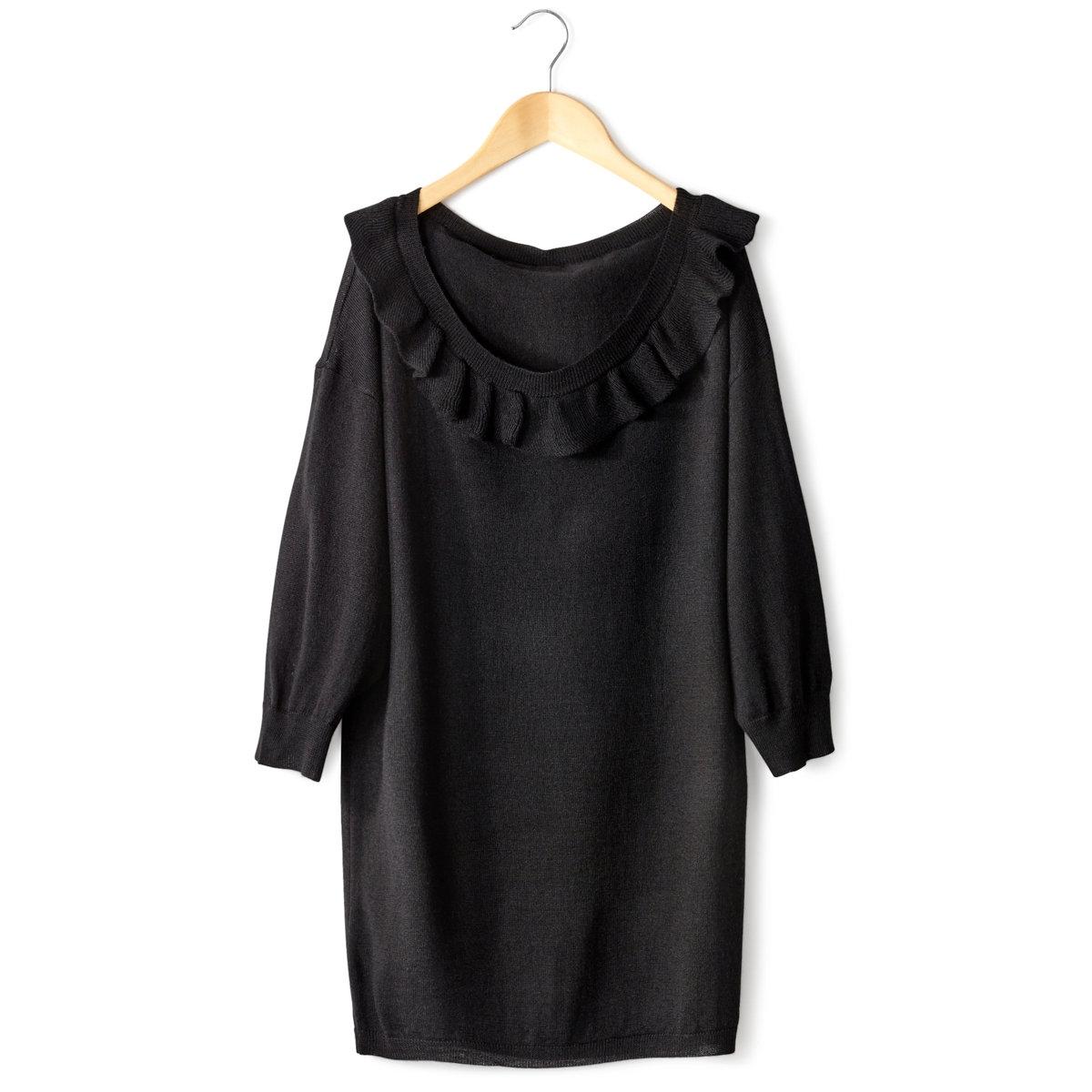 Пуловер с рукавами 3/4Пуловер с рукавами 3/4. Состав : 35% вискозы, 30% шерсти, 30% полиамида, 5% кашемира. Закруглённый вырез, украшенный воланом. Длина 67 см.<br><br>Цвет: черный<br>Размер: 34/36 (FR) - 40/42 (RUS)
