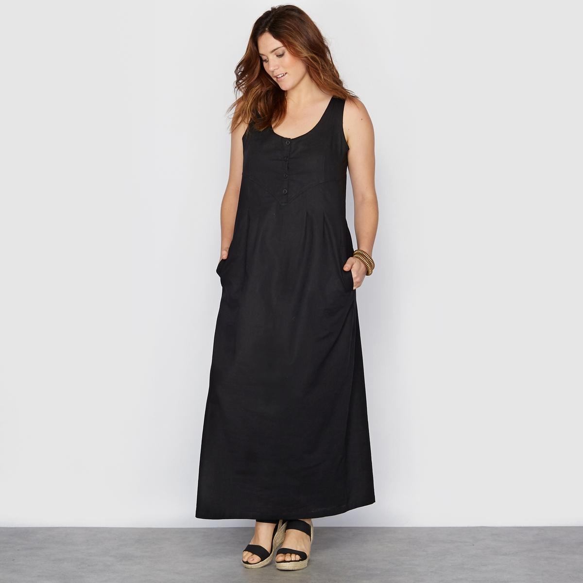 Платье длинное из льна и хлопка от La Redoute