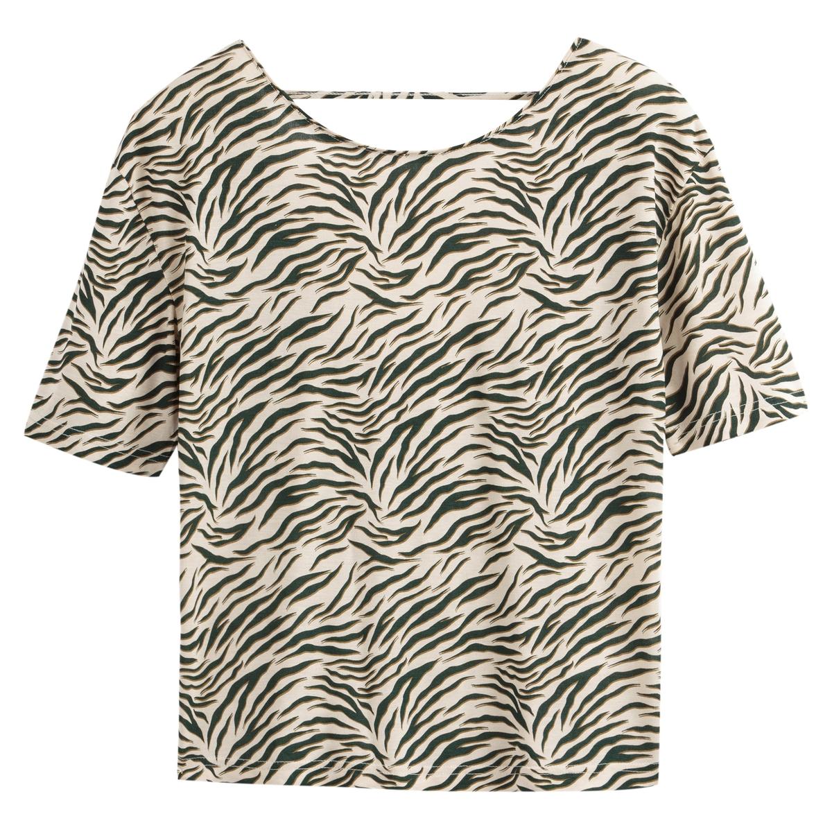 Camisola de gola redonda, estampado zebra