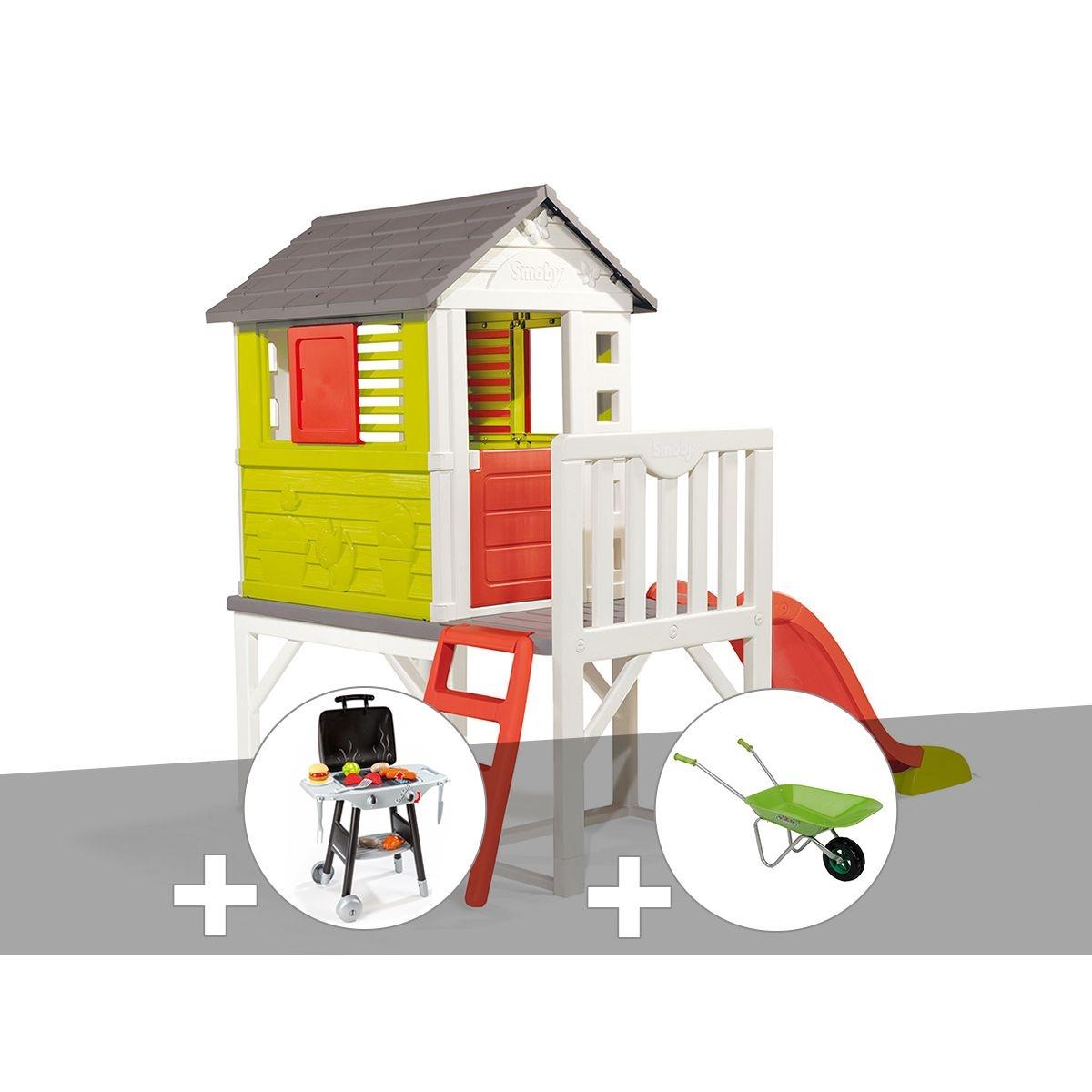 Cabane enfant Pilotis - Smoby + Plancha + Brouette