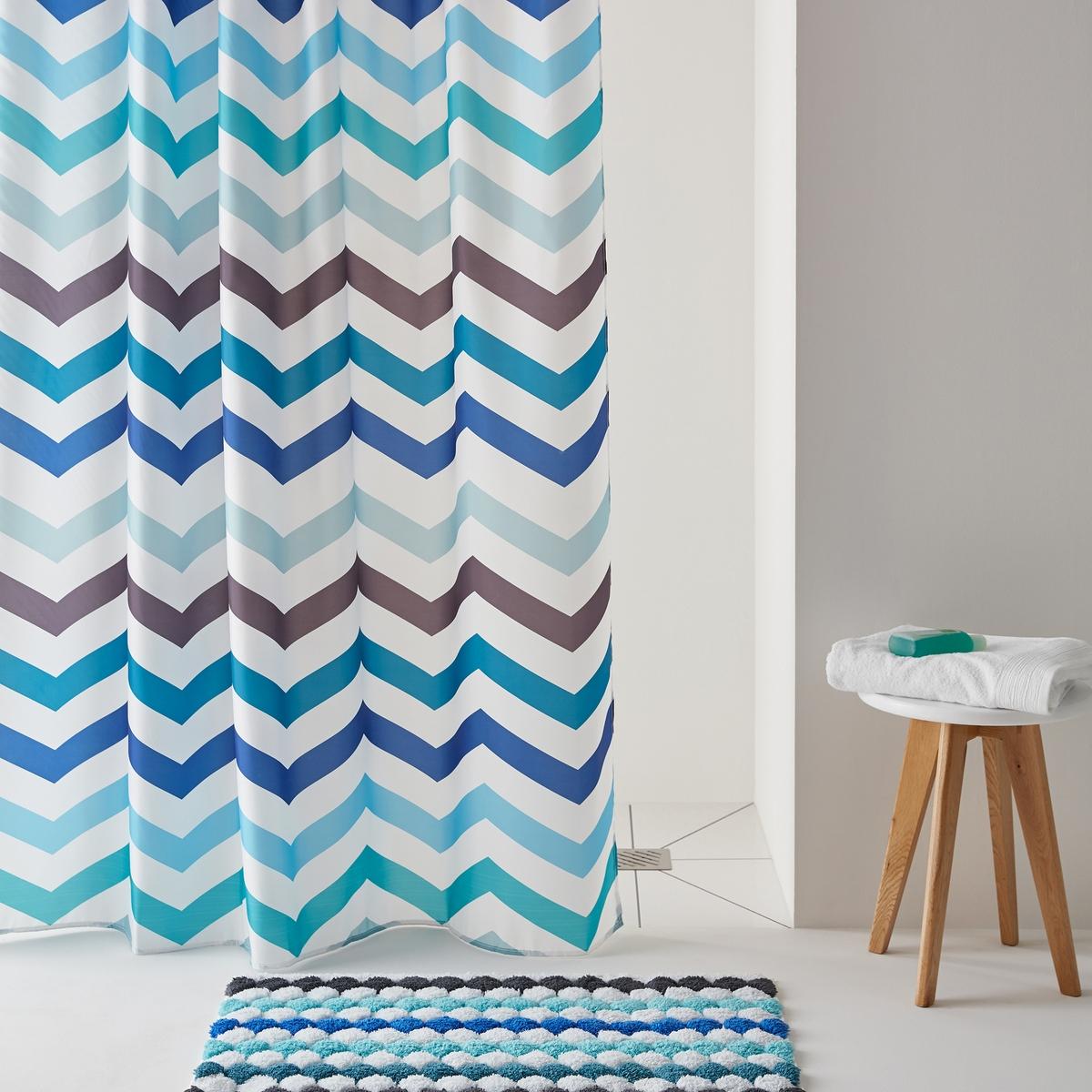 Разноцветная штора для душа с рисунком ZIGZAGРазноцветная штора для душа с рисунком ZIGZAG.Штора для душа сверкающей расцветки с бодрящим графичным рисунком! Можно комбинировать с ковриком для ванны, представленным на сайте. Характеристикишторы:Материал:  100% полиэстер.Утяжеленный низ для лучшего натяжения.С люверсами.Уход:Машинная стирка при 40°С.Размеры шторы:180 x 200 см.<br><br>Цвет: синий/ зеленый<br>Размер: 200 x 180 см