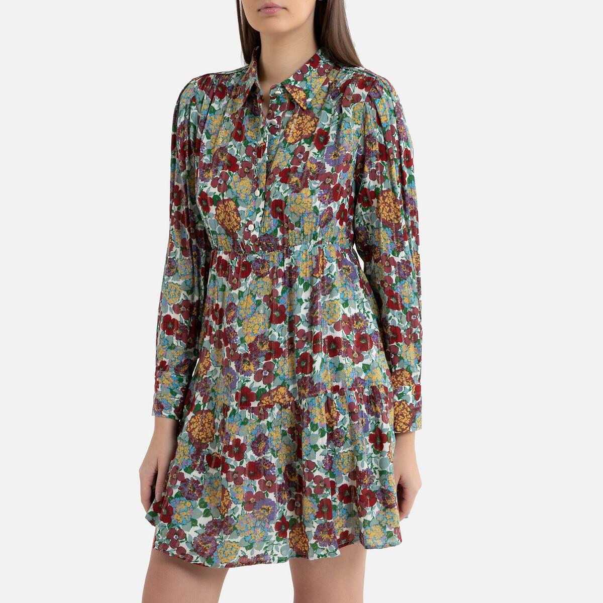 цена Платье La Redoute С принтом короткое с длинными рукавами POLDIE 2(M) разноцветный онлайн в 2017 году